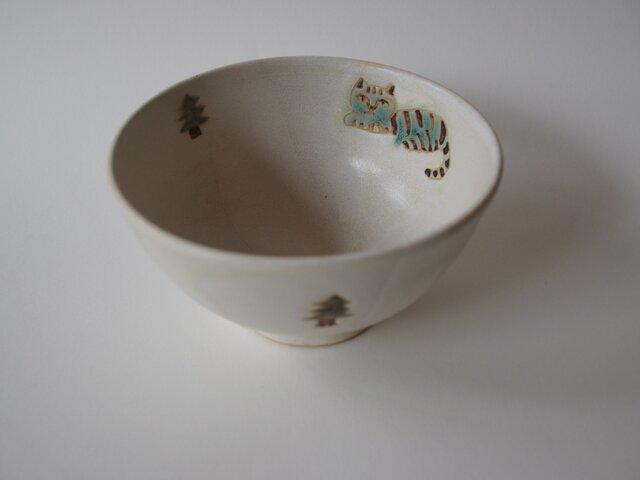 緑の猫と森のお茶碗 の画像1枚目