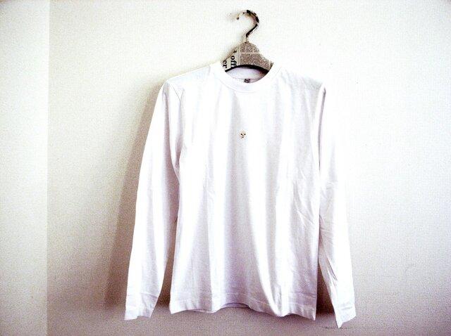 ガイコツ刺繍の白い長袖Tシャツ の画像1枚目