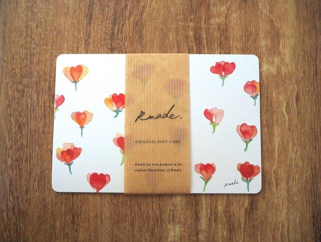 赤い小花のポストカードの画像1枚目