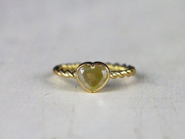 heart *green diamond・K18YG*指輪*9号の画像1枚目