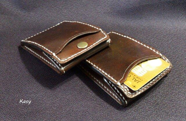 カードとコインの財布Ⅱ CC-08-1 コインケース ヌメ革 焦げ茶の画像1枚目