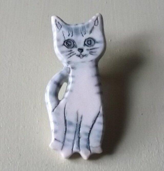 陶ピンブローチ-サバトラ猫の画像1枚目