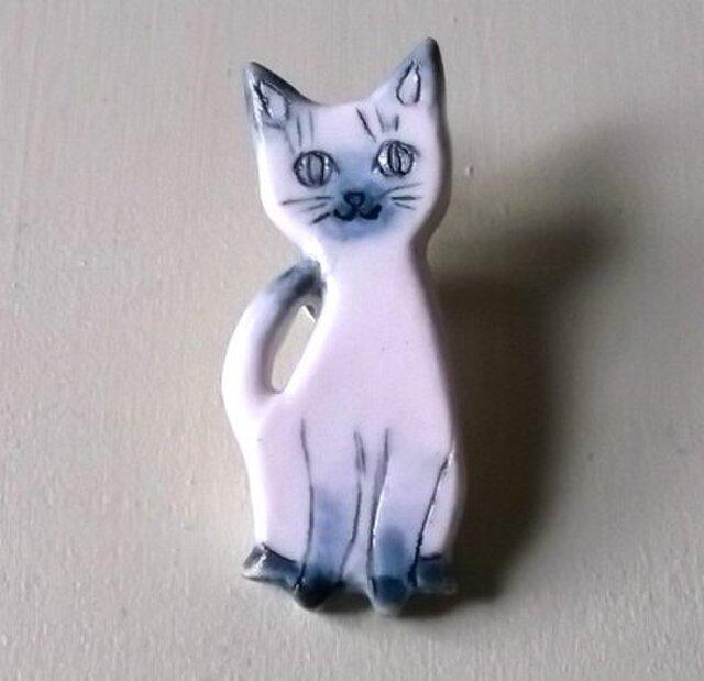 陶ピンブローチ-シャム猫の画像1枚目