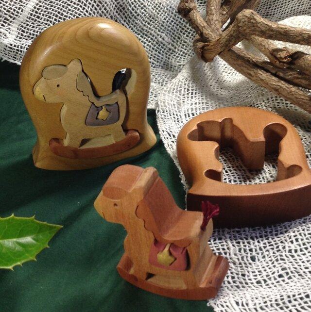 木馬のベル2種 彩色組み木絵の画像1枚目