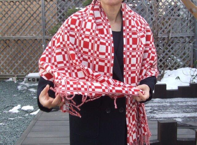 手織りカシミアストール・・赤の贈りものの画像1枚目