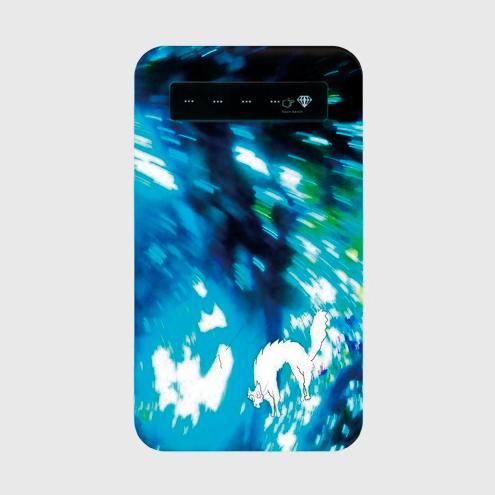 「光と流れとねこ」 モバイルバッテリー microUSBケーブル(蓄電用コード)付きの画像1枚目