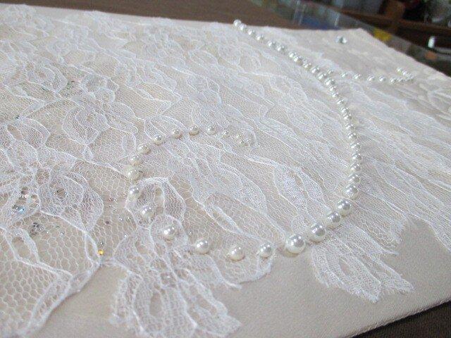 ラインストーン、パールビーズ刺繡帯テーブルランナーの画像1枚目