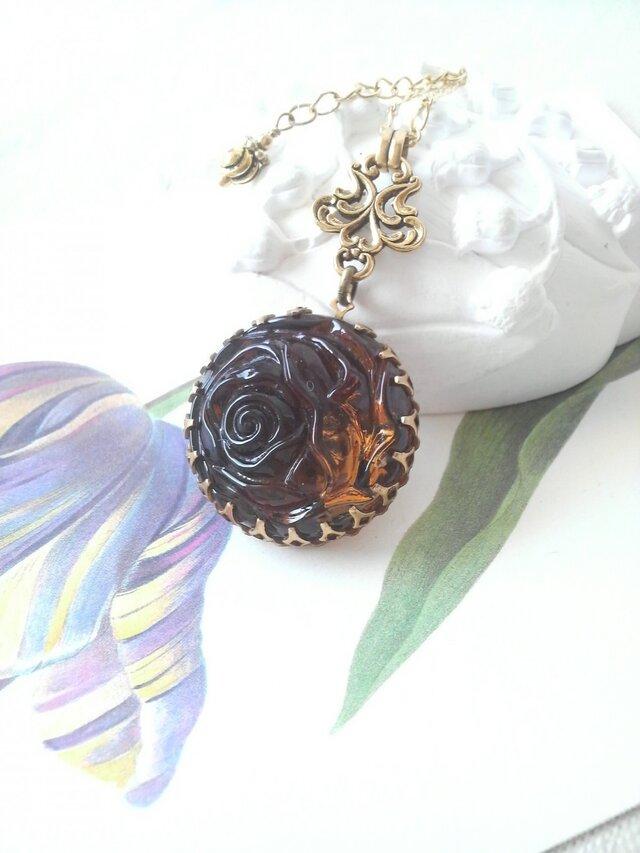 ヴィンテージ Brown薔薇Gorgeousネックレスの画像1枚目