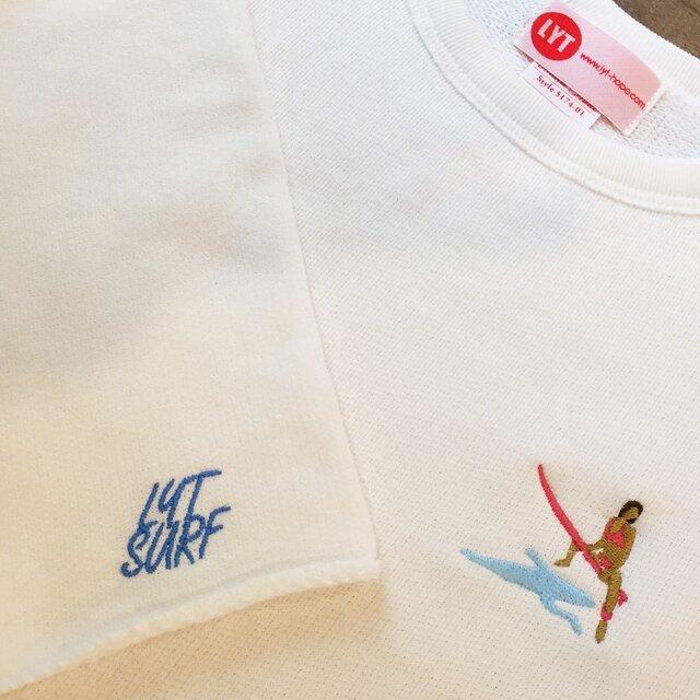 SURF 刺繍 カットオフクルーネックスウェットの画像1枚目