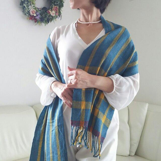 手織り 上質シルクウールマフラーストール 262の画像1枚目
