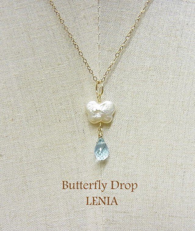 Butterfly Drop 14kgfネックレスチャームの画像1枚目
