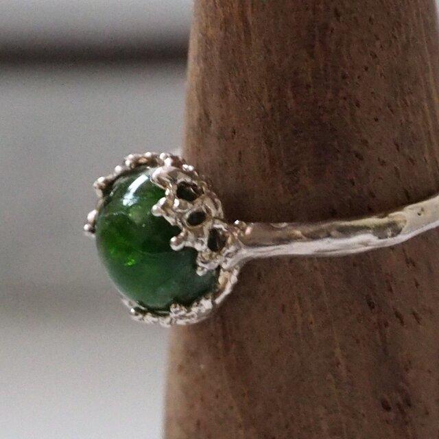 鮮やかなグリーン クロムダイオプサイトのリング 12.5号P119の画像1枚目