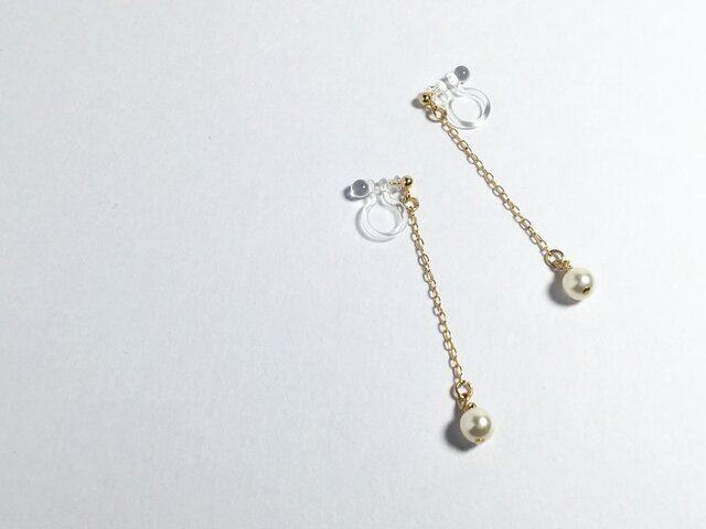 small crystal pearl earring 【swing】の画像1枚目