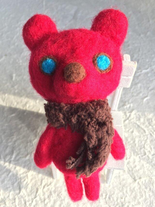 さむがり熊さんキーホルダー赤の画像1枚目