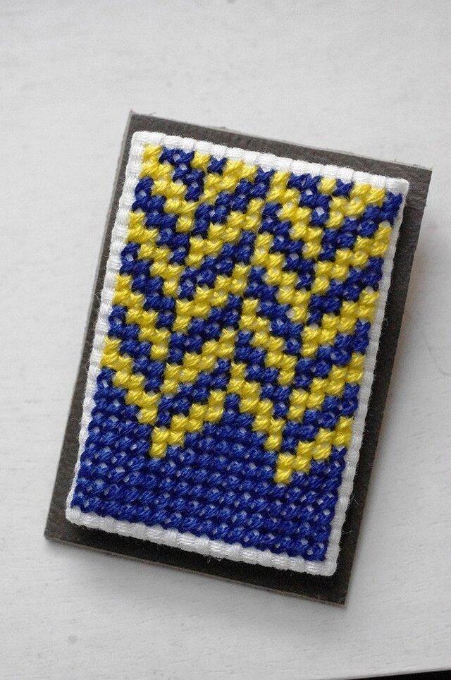 ヘリンボーン / 群青色x黄色の画像1枚目