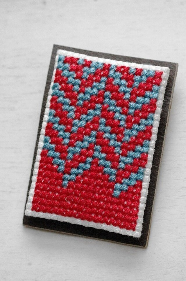 ヘリンボーン / 赤x水色の画像1枚目