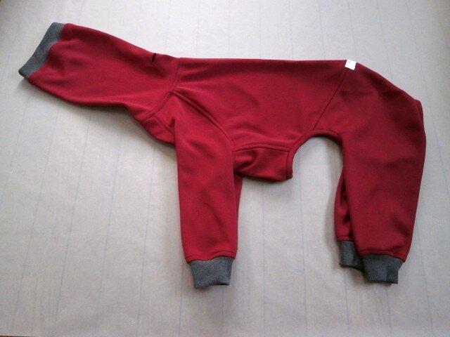 犬服 [受注生産]ウィペット用フルスーツ ワインレッドの画像1枚目