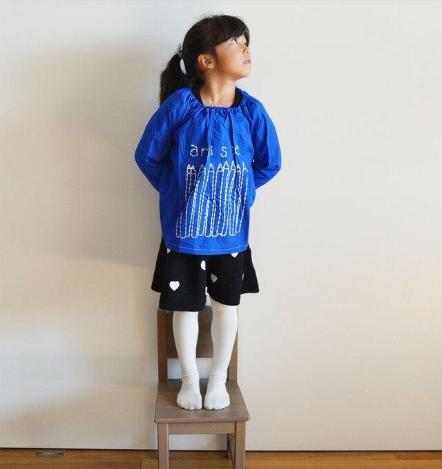新色!スモック ロイヤルブルー 「artiste」 入園、お習い事に 送料・名入れ無料の画像1枚目