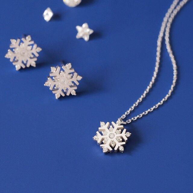 雪の結晶 ネックレス ピアス 限定セットの画像1枚目
