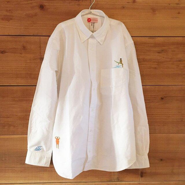 波待ちSURF 刺繍 ボタンダウン OX長袖シャツの画像1枚目