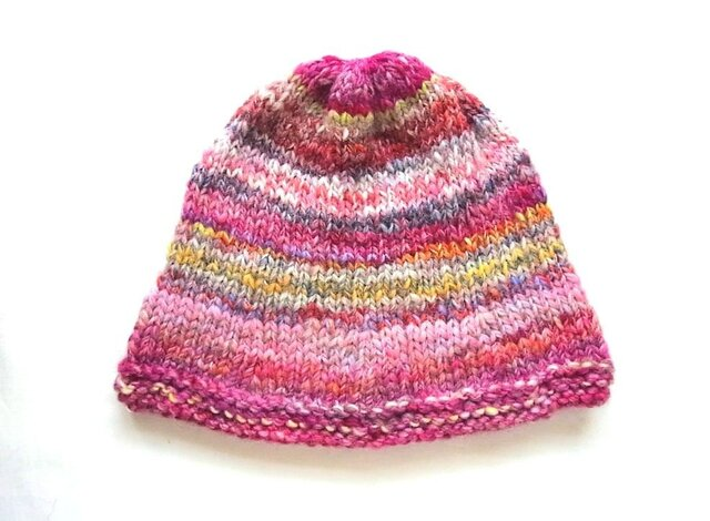 SALE 手紡ぎ糸のニット帽 H-090の画像1枚目