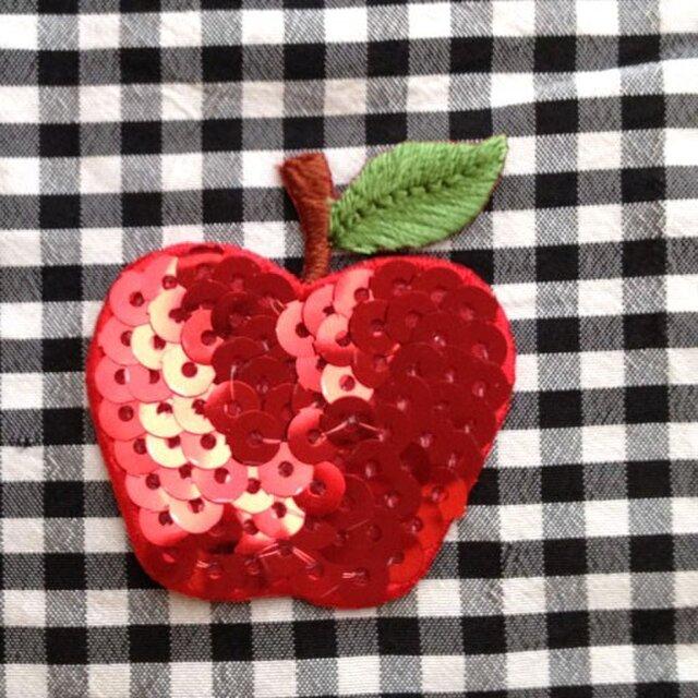 アップリケスパンコール ワッペン りんご シークイン W-0284の画像1枚目