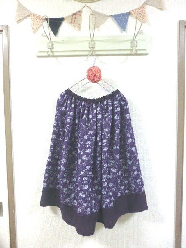 nanatone生地 花柄変わり生地 バイカラー ギャザースカートの画像1枚目
