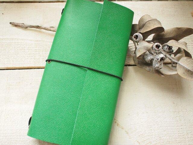 A5変形 本革鮮やかグリーン色手帳カバー トラベラーズの画像1枚目