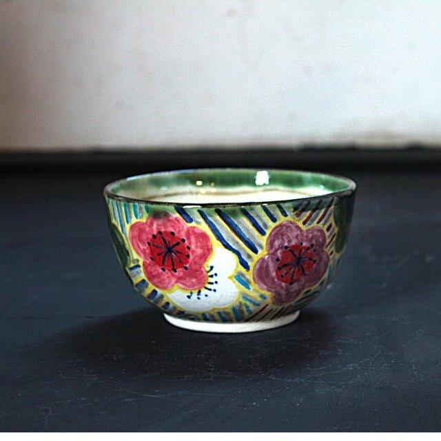 梅花と波模様の抹茶椀(小)の画像1枚目
