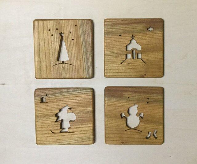 森のクマさんカフェのコースター クリスマス【受注制作】の画像1枚目