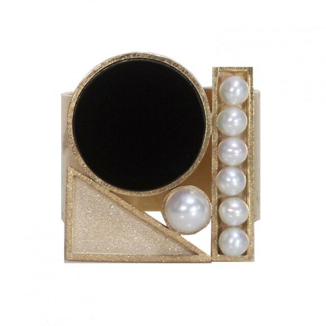 Tray ring onyx (gold)の画像1枚目