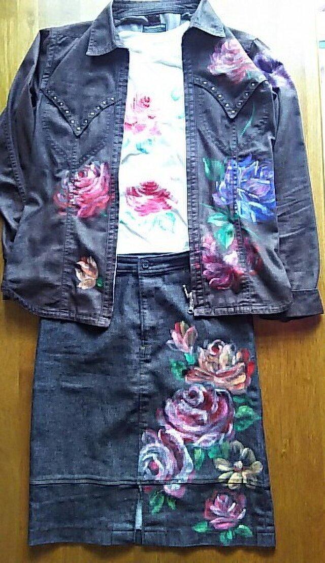 薔薇のジャケット+Tシャツ(ブラウス)+スカート《手描きオーダーメイド作品》の画像1枚目