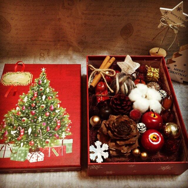 クリスマスBOXアレンジ (レッド)の画像1枚目