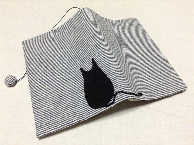 945     ブックカバー     文庫サイズ      黒猫シリーズ    空色の画像1枚目
