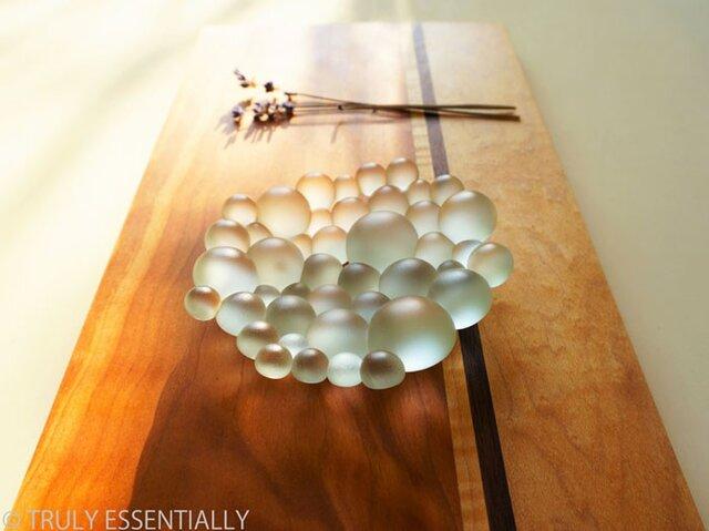 艶消しガラスのトレイ -「 まるいガラス 」●11cmの画像1枚目