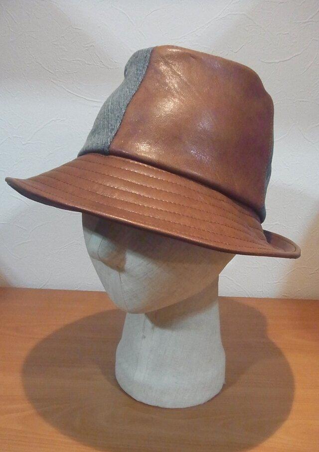 革とジーンズの中折れ風の帽子の画像1枚目