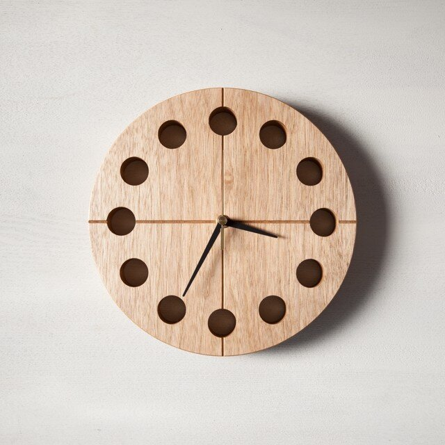 木の時計マル(Φ240) No16 | クルミ【針、選択可】の画像1枚目