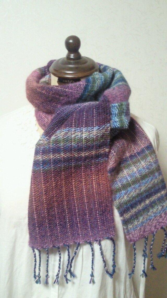 虹色グラデーション♪手織りマフラーの画像1枚目