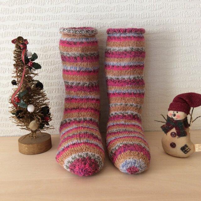 クリスマスにあったかいプレゼント毛糸の靴下の画像1枚目
