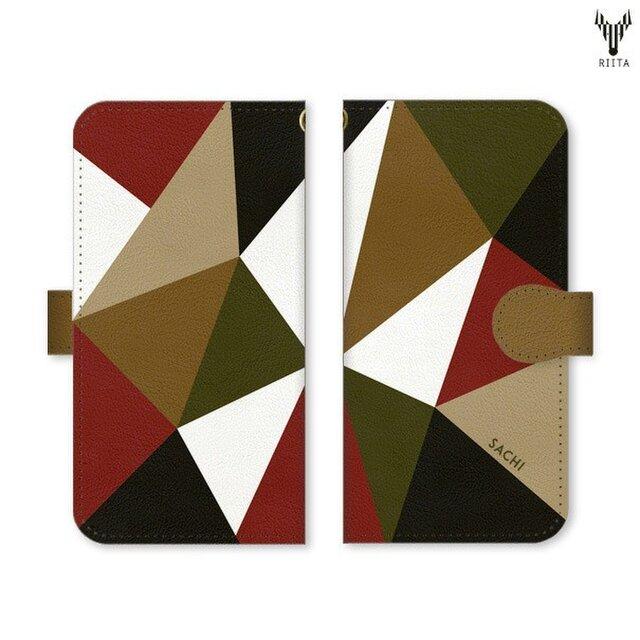 aa954e2166 【全機種対応 名入れ♪送料無料】手帳型 三角 模様のスマホケース トライアングル 黒×茶色×カーキ×赤×白×ベージュ