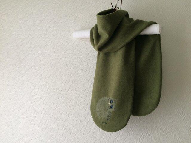 暖かウール 隠れフクロウひなマフラー  グリーンの画像1枚目