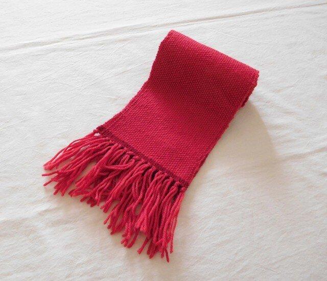 手織りマフラー サンゴ+赤の画像1枚目
