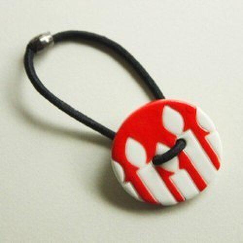 磁器ボタンゴム 丸 キャンドル レッドの画像1枚目