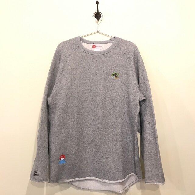 盆栽&富士山 刺繍 カットオフクルーネックスウェットの画像1枚目