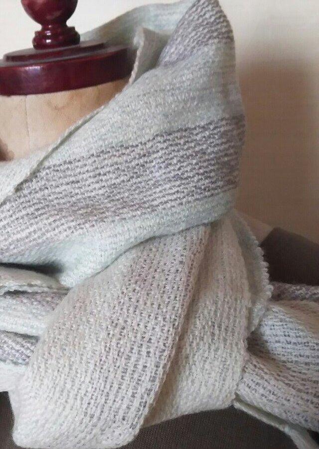 手織り ふんわりカシミヤ昼夜織マフラーストールの画像1枚目