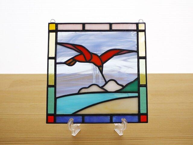 ステンドグラス ミニパネル 鳥 15cmの画像1枚目