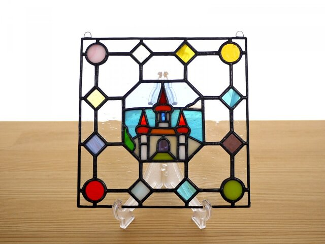 ステンドグラス ミニパネル キャッスル ドット 15cmの画像1枚目