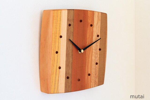 寄せ木の壁掛け時計 曲線14の画像1枚目