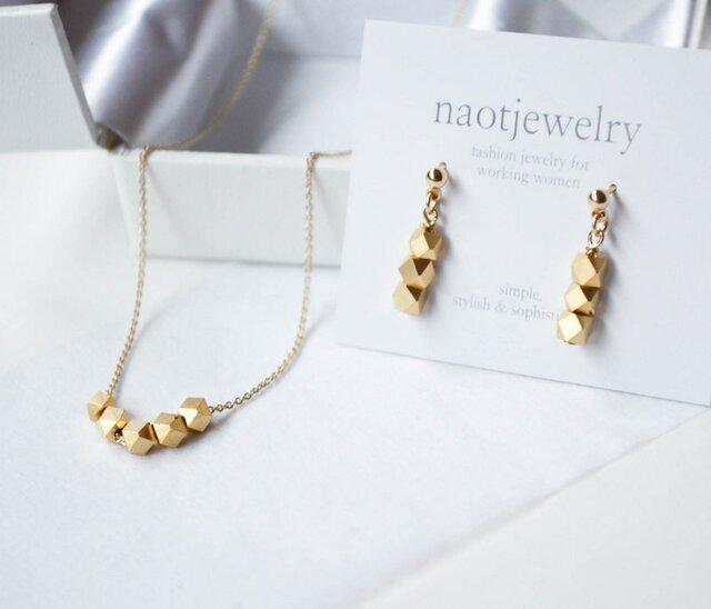 Metal Cut Silver Beads Set(matte gold)の画像1枚目