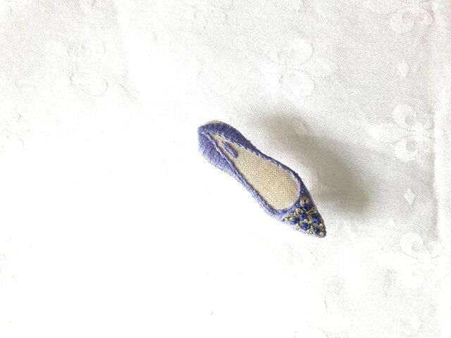 shoe shoe shoe刺繍ブローチNo.52(紫)の画像1枚目